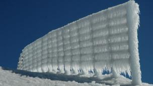 Ice on a wall