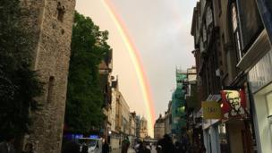 The rainbow that appeared over Oxford on Wednesday evening