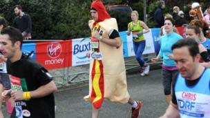 A hot dog paces himself in the race
