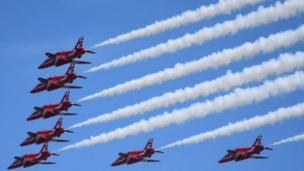 A shot of the Red Arrows display