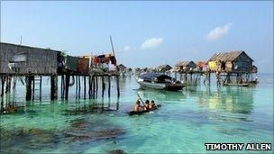 Stilt houses of the Bajau Laut, off the east coast of Sabah, Malaysia on the island of Borneo