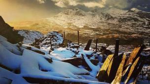 Snow on the Snowdonia mountains near Blaenau Ffestiniog by Helen Macnibbler