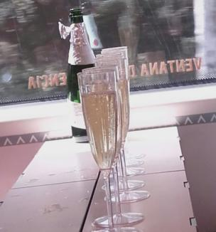 Glasses of champagne on the train