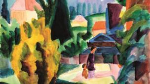 Image shows August Macke's 1914 painting titled Im Schlossgarten von Oberhofen (In the Castle Garden of Oberhofen).