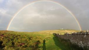 Sian Thomas was walking around the park wall with her son when she saw this rainbow with the Great Orme summit in the distance