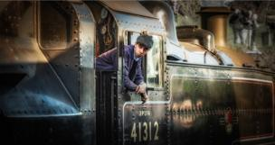 Driver on a steam train