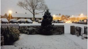 Snow covered garden in Glasgow