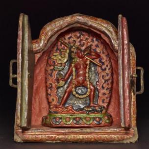 Vajra Yogini Shrine. Wood, leather, lacquer, clay. Tibet, 19th century. (c) The Trustees of the British Museum.
