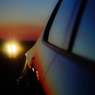 Sun reflected in a car