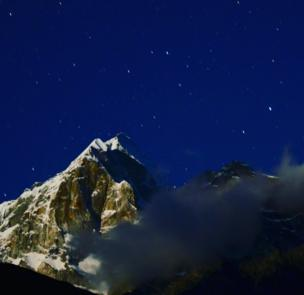 Mountains against the night sky