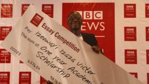 Winner, Izeowayi Izaza Victor dey very happi say im win di essay competition