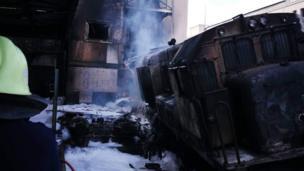 قطار محترق
