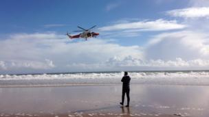 Tricia Vaughan captured this shot of a rescue helicopter on a training flight at Three Cliffs Bay, Gower.