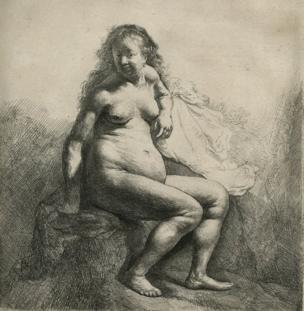 Rembrandt's Naked Woman Seated on a Mound (1631). Etching and engraving on paper. 17.7 x 16.1 cm