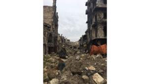 Una calle destruida en Alepo