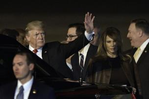 US President Donald Trump (L) and US First Lady Melania Trump after arrival at Ezeiza International airport in Buenos Aires province, 29 November (local time) 2018