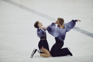 Ice dancers Jayne Torvill and Christopher Dean perform their Bolero routine