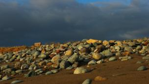 Rocks on Cae Clyd beach near Caernarfon