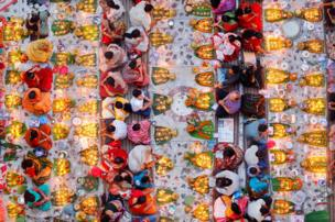 Hindus prepare to break their daylong fast in a temple in Dhaka, Bangladesh