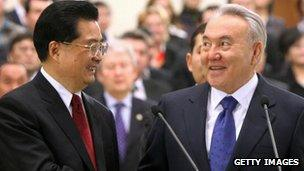 Chinese President Hu Jintao (L) and Kazakh President Nursultan Nazarbayev (R) at a pipeline opening ceremony in Astana in 2009