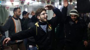 جشن میلاد پیامبر اسلام در کفر بطنا، محله ای تحت کنترل شورشیان در حومه دمشق