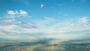 The balloon of Russian adventurer Fedor Konyukhov in the sky just after taking off from a spot near Northam, near Perth in Western Australia, 12 July 2016.