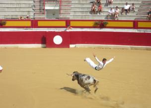 A man jumps over a bull