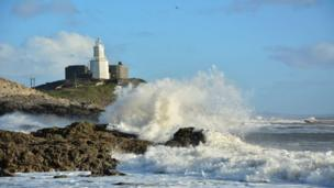 Waves at Mumbles on a sunny day in Swansea, photographed by Mike Doyle from Skewen.