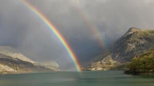 A double rainbow at Nant Peris, Gwynedd