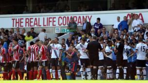 Players take a drinks break in Tottenham versus Southampton at White Hart Lane
