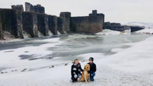 A frozen moat around Caerphilly Castle