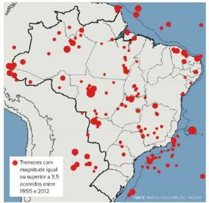 Mapa de tremores registrados no Brasil