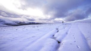 Snowy Carneddau mountains