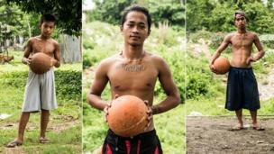 شباب يلعبون كرة السلة في الفلبين