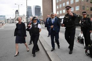 Metropolitan Police Commissioner Cressida Dick and Mayor of London Sadiq Khan (walk across London Bridge in London on 5 June2017, to see the site of the 3 June terror attack.