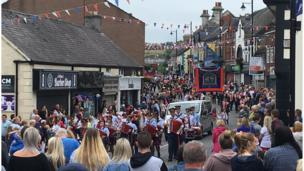 Bands marching in Twelfth of July parade in Ballyclare