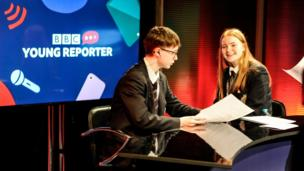 Two Young Reporters try their hand at news presenting