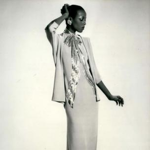 Model in Givenchy Haute-Couture Spring Collection Evening Gown in May 1979