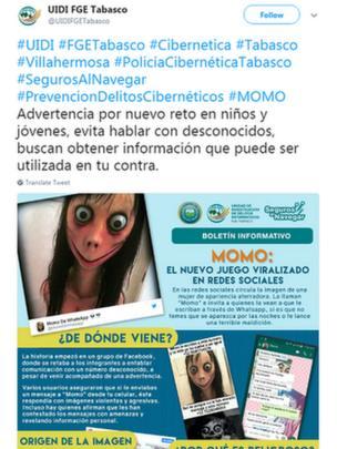 Police tweet warning against accepting Momo's challenge
