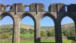The ruins of Llanthony Priory against a clear blue sky