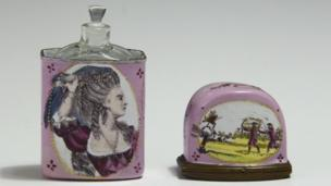 Ann Barry as Constance in King John, Scent bottle & English enamel case, on display in 'Shakespeare in Ten Acts', ca. 1780-1790.