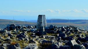 The summit of Tair Carn Isaf, near Ammanford in Carmarthenshire