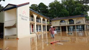 إحدى المدن المتضررة من الفيضانات.