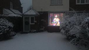 A Christmas tree lit inside a home
