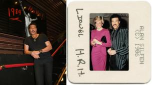 Lionel Richie beside a photo of himself with Princess Diana