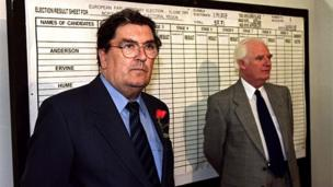 in_pictures John Hume during the announcement of the results of the 1999 European election, in which he came a close second in the poll to Ian Paisley