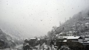 A view of the first snow fall of the season, in Neelum valley, in Pakistani administered Kashmir,