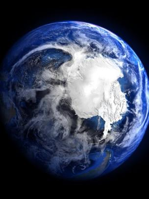 A picture of Antarctica seen from space