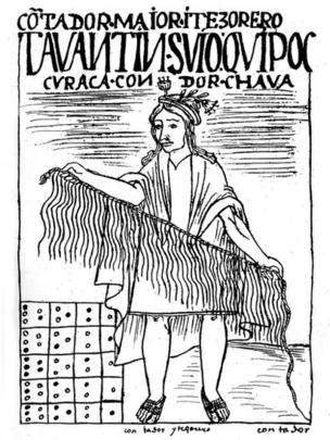 Ilustración de un contador y tesorero con un quipu en la mano.