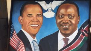 Mchoro wa picha ya Obama akiwa na rais Uhuru Kenyatta wa Kenya